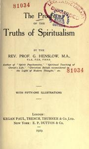 Cover of: The proofs of the truths of spiritualism