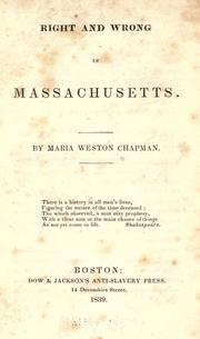 Cover of: Right and wrong in Massachusetts