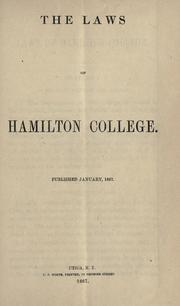 Cover of: The laws of Hamilton College ..