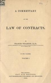 Cover of: A commentary on the law of contracts