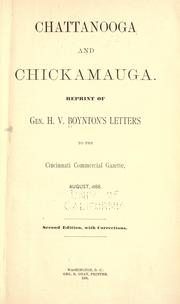 Chattanooga and Chickamauga by Henry Van Ness Boynton