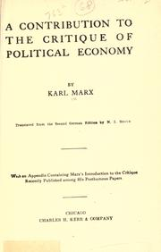 Cover of: A contribution to The critique of political economy. by Karl Marx