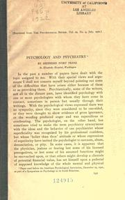 Cover of: Psychology and psychiatry