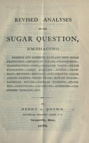 Cover of: Revised analyses on the sugar question