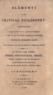 Elements of the critical philosophy by A. F. M. Willich