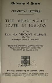 Cover of: The meaning of truth in history