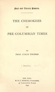 Cover of: The Cherokees in pre-Columbian times