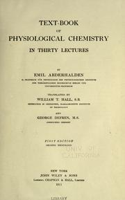 Cover of: Text-book of physiological chemistry in thirty lectures
