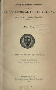Cover of: A bibliography of Persius