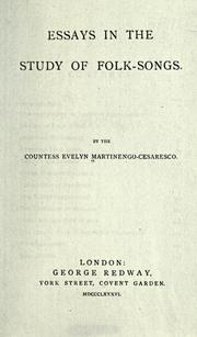 Cover of: Essays in the study of folk-songs