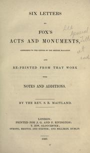 Cover of: Six letters on Fox's Acts and monuments