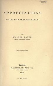 Appreciations by Walter Pater