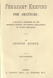 Cover of: Pheasant keeping for amateurs