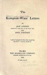 Cover of: The Kempton-Wace letters