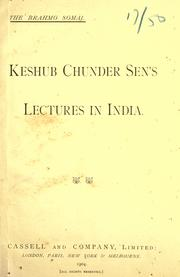 Cover of: Keshub Chunder Sen's lectures in India