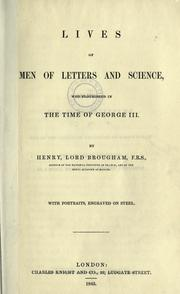 Cover of: Lives of men of letters and science who flourished in the time of George III