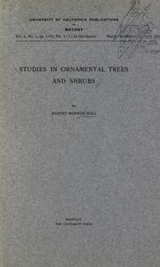 Cover of: Studies in ornamental trees and shrubs