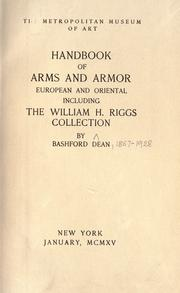 Cover of: Handbook of arms and armor: European and oriental, including the William H. Riggs collection