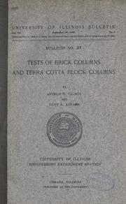 Tests of brick columns and terra cotta block columns by A. N. Talbot