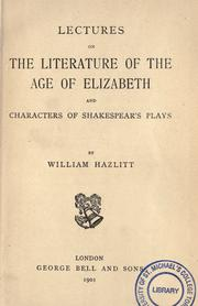 Cover of: Lectures on the literature of the age of Elizabeth