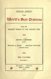 Cover of: The world's best orations, from the earliest period to the present time