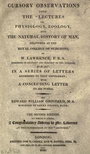 Cover of: Cursory observations upon the Lectures on physiology, zoology, and the natural history of man | Edward William Grinfield