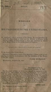 Message of the President of the United States by United States. Department of State.