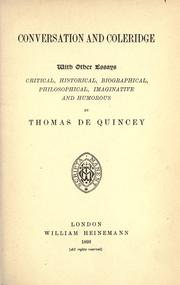 Cover of: The posthumous works of Thomas De Quincey: Ed. from the original mss., with introductions and notes. by Alexander H. Japp