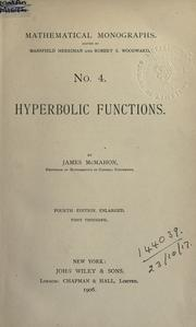 Cover of: Hyperbolic functions. | James McMahon