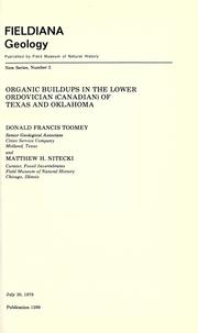 Cover of: Organic buildups in the Lower Ordovician (Canadian) of Texas and Oklahoma