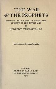 The war & the prophets by Herbert Thurston