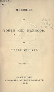Cover of: Memories of youth and manhood