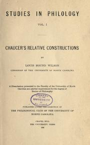 Cover of: Chaucer's relative constructions