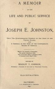 Cover of: A memoir of the life and public service of Joseph E. Johnston