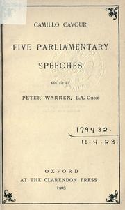 Cover of: Five parliamentary speeches