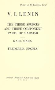 Cover of: The three sources and three component parts of Marxism