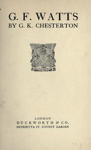 Cover of: G.F. Watts