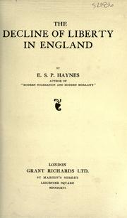 Cover of: The decline of liberty in England