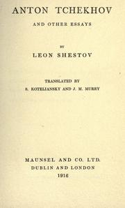 Cover of: Anton Tchekhov, and other essays