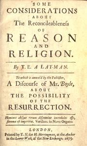 Cover of: Some considerations about the reconcileableness of reason and religion |