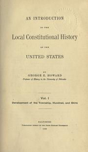 Cover of: An introduction to the local constitutional history of the United States