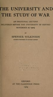Cover of: The university and the study of war