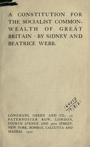 Cover of: A constitution for the socialist commonwealth of Great Britain