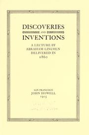 Cover of: Discoveries and inventions: a lecture