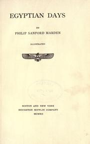 Cover of: Egyptian days | Marden, Philip Sanford