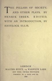 Cover of: The pillars of society, and other plays: By Henrik Ibsen.  Ed., with an introduction