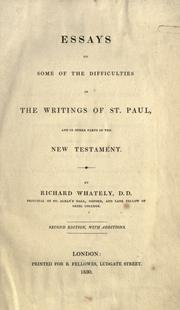 Cover of: Essays on some of the difficulties in the writings of the Apostle Paul and other parts of the New Testament