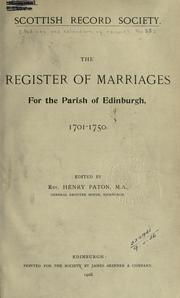 Cover of: The register of marriages for the parish of Edinburgh, 1701-1750 | Scottish Record Society