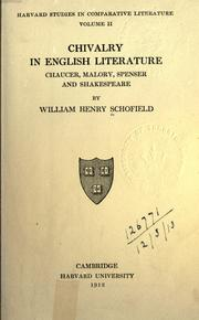 Cover of: Chivalry in English literature: Chaucer, Malory, Spenser and Shakespeare
