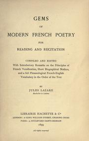Cover of: Gems of modern French poetry for reading and recitation